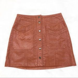 Free People Come Closer Faux Leather Skirt Size 2